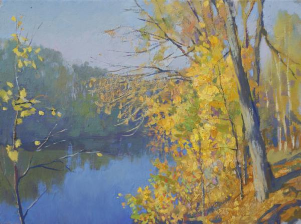 Ярослав Зяблов. Желтые листья у синей воды.